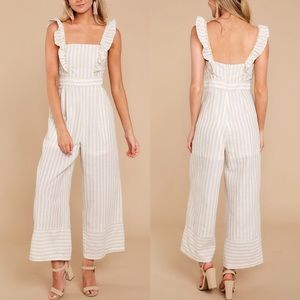 For The Love Of Stripes Taupe Jumpsuit